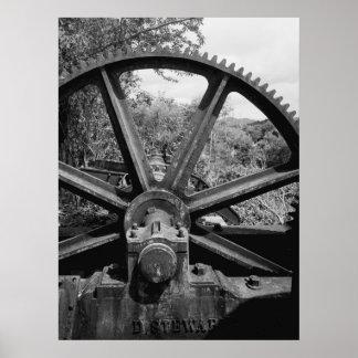 Foto industrial - transporte y engranaje de la des póster