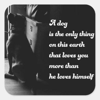 Foto inspirada blanco y negro del perro pegatina cuadrada