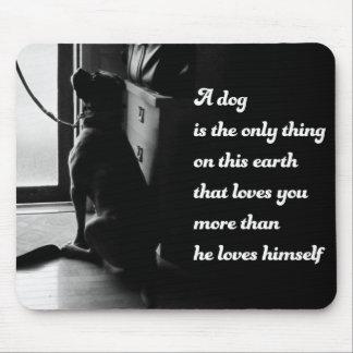 Foto inspirada blanco y negro del perro tapetes de raton