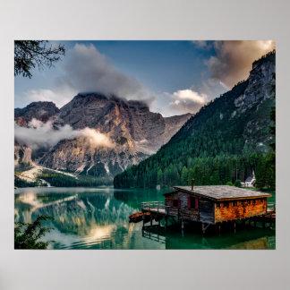 Foto italiana del paisaje del lago mountains póster