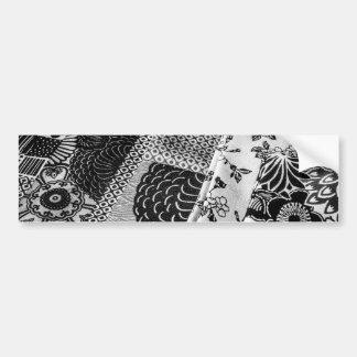 Foto japonesa de las materias textiles en blanco y pegatina para auto