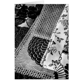 Foto japonesa de las materias textiles en blanco y tarjeta de felicitación