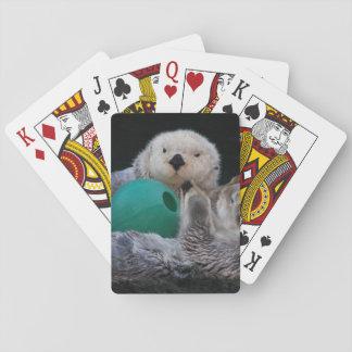 Foto juguetona de las nutrias de mar cartas de juego