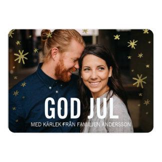Foto Julkort | Gyllene Snöflingor Card
