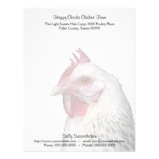 Foto ligera del retrato del pollo de Sussex Membrete