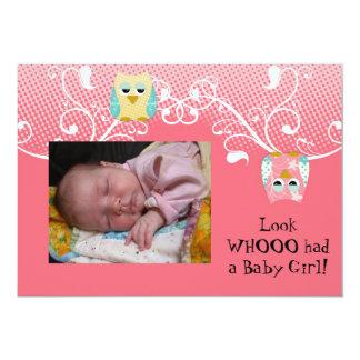 """Foto linda caprichosa del bebé de los búhos del invitación 5"""" x 7"""""""
