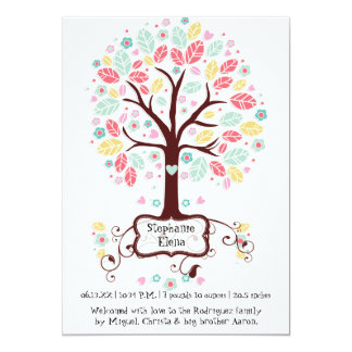 """Foto linda caprichosa del bebé del árbol de la invitación 5"""" x 7"""""""