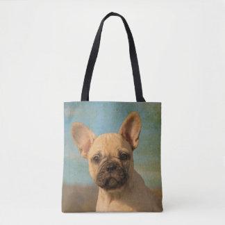 Foto linda del retrato del perrito del dogo bolsa de tela