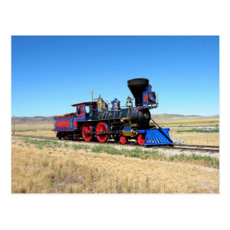 Foto locomotora del tren del motor de vapor tarjeta postal
