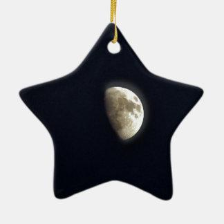 Foto lunar de la astronomía de la media luna adorno navideño de cerámica en forma de estrella