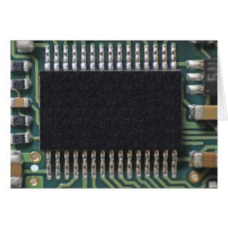 Foto macra del componente de la placa de circuito tarjeta de felicitación
