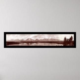 Foto magnífica 1902 de la gama de Teton WY Póster