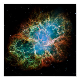 Foto magnífica de la nebulosa de cangrejo póster