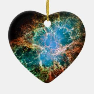 Foto magnífica del espacio de la nebulosa de adorno de cerámica en forma de corazón