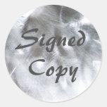 Foto metálica y copia firmada gris pegatinas redondas