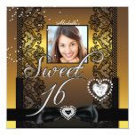 Foto negra del cordón del oro del dulce dieciséis invitación personalizada