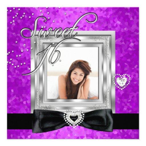 Foto negra púrpura del dulce dieciséis del dulce 1 invitación personalizada