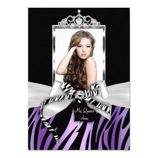 """Foto negra púrpura Quinceanera del arco y del Invitación 5"""" X 7"""""""