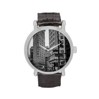 Foto negra y blanca del edificio de Flatiron en NY Relojes De Mano