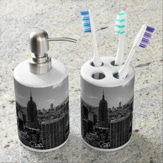 Foto negra y blanca del horizonte de New York City Conjunto De Baño