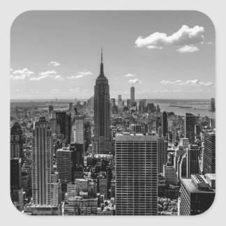 Foto negra y blanca del horizonte de New York City Calcomania Cuadradas Personalizadas