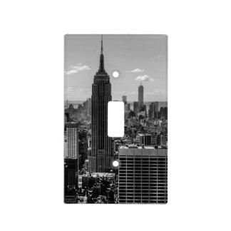 Foto negra y blanca del horizonte de New York City Placas Para Interruptor