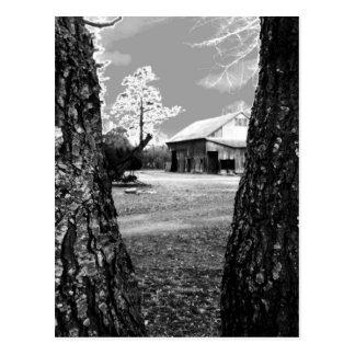 Foto negra y blanca del país rural de los graneros tarjetas postales