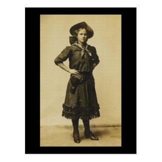 Foto occidental de la vaquera del vintage postal