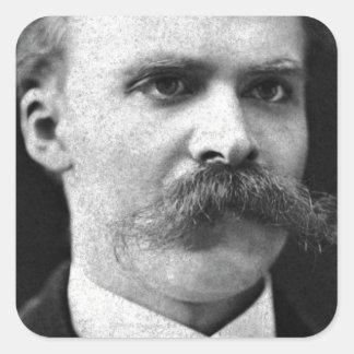 Foto original del b&w de Friedrich Nietzsche Calcomania Cuadrada Personalizada