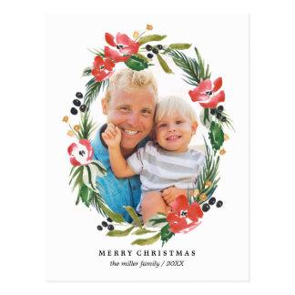 Foto oval floral del día de fiesta de la acuarela tarjetas postales