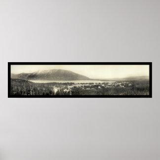 Foto panorámica 1911 del lago magnífico Colorado Poster