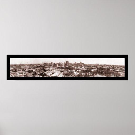 Foto panorámica 1924 de Houston TX Póster