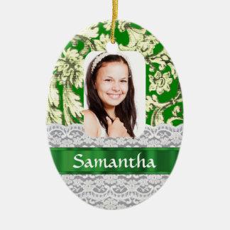 Foto personalizada cordón verde adorno ovalado de cerámica