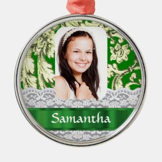 Foto personalizada cordón verde adorno redondo plateado