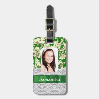 Foto personalizada cordón verde etiqueta de maleta