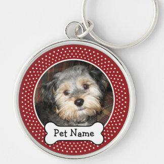 Foto personalizada del mascota con el hueso de per llavero