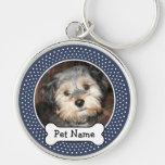 Foto personalizada del mascota con el hueso de per llavero personalizado