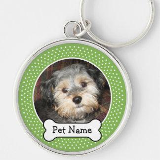 Foto personalizada del mascota con el hueso de per llaveros personalizados