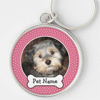 Foto personalizada del mascota con el hueso de per llavero redondo plateado