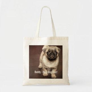 Foto personalizada del perro del barro amasado y bolsa tela barata