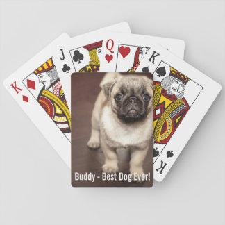 Foto personalizada del perro del barro amasado y naipes