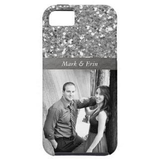Foto personalizada diseño de plata del brillo iPhone 5 protector