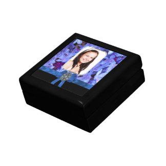 Foto personalizada flor azul caja de joyas