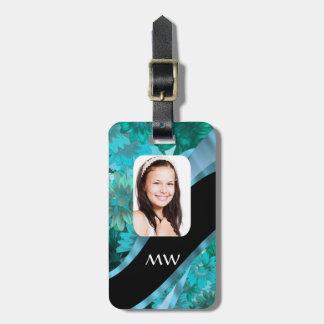 Foto personalizada floral del Aquamarine Etiquetas Bolsa