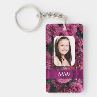 Foto personalizada floral rosada llavero rectangular acrílico a doble cara