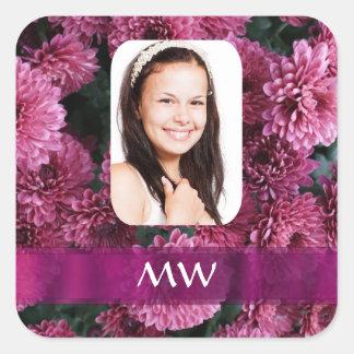 Foto personalizada floral rosada pegatina cuadrada