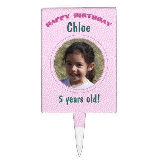 Foto personalizada lunar rosado del cumpleaños decoración de tarta
