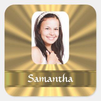 Foto personalizada mirada del oro calcomanía cuadradas personalizada