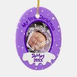 Foto personalizada primera púrpura del navidad del ornamente de reyes