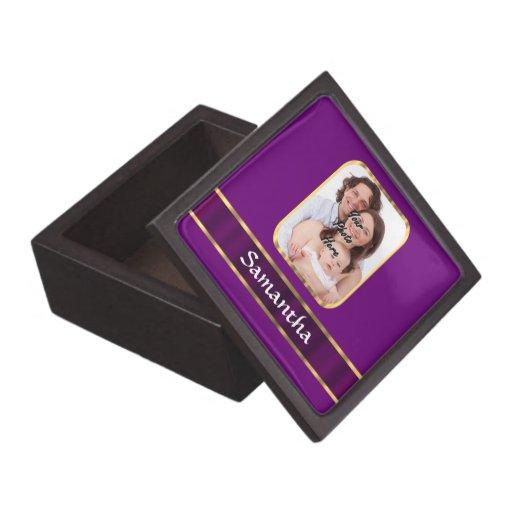 Foto personalizada púrpura cajas de joyas de calidad